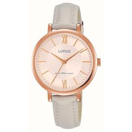 Ladies Elegant Beige Leather Strap Watch with Rose Gold Plated Case