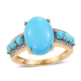 Arizona Sleeping Beauty Turquoise (Ovl 4.20 Ct), Natural Cambodian Zircon Ring (Size M) in 14K Gold Overlay S