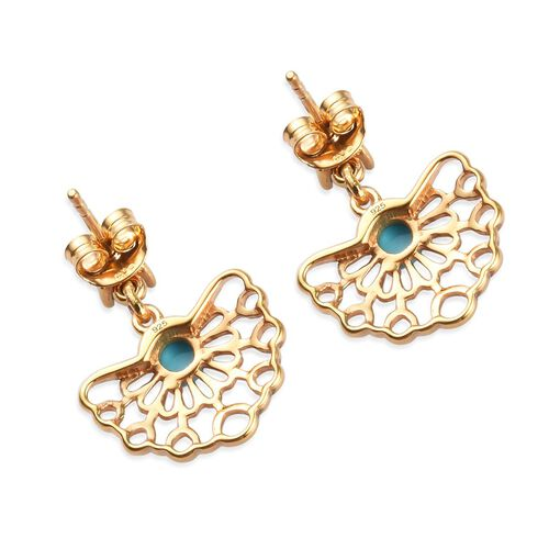 Arizona Sleeping Beauty Turquoise Earrings (with Push Back) in 14K Gold Overlay Sterling Silver 1.25 Ct.