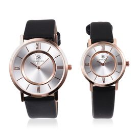 Set of 2 STRADA Japanese Movement Water Resistant Rose Gold Plated Silver Sunshine Dial Watch with Black Strap