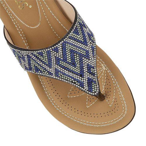 Lotus Patti Flat Toe-Post Sandals (Size 4) - Blue