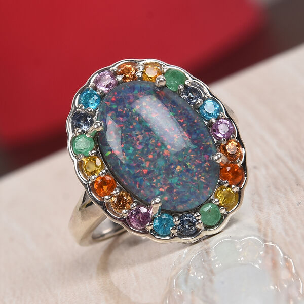 Limited Edition- Australian Boulder Opal (Ovl 14x10mm) and Multi Gemtsone Ring in Platinum Overlay Sterling Silver