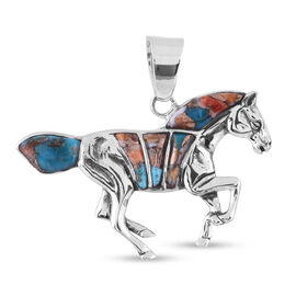 Santa Fe Collection - Spiny Turquoise Horse Pendant in Sterling Silver