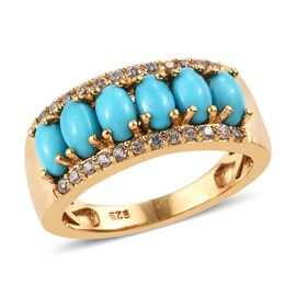 Arizona Sleeping Beauty Turquoise (Ovl), Natural Cambodian Zircon Ring in 14K Gold Overlay Sterling