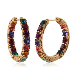 J Francis  - Crystal From Swarovski Multi Colour Crystal (Rnd) Hoop Earrings (with Clasp) in Gold Pl