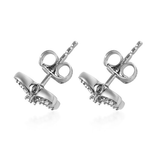 Diamond Floral Stud Earrings (with Push Back) in Platinum Overlay Sterling Silver 0.20 Ct.