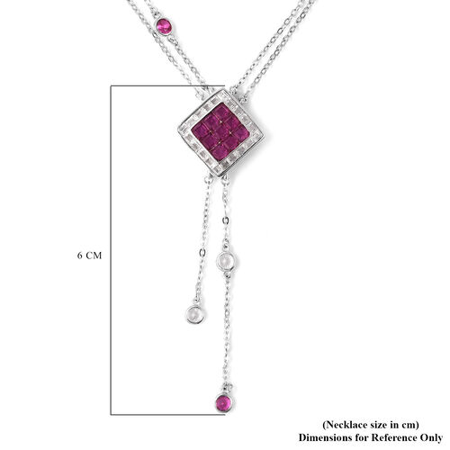 Lustro Stella - Mystery Setting Simulated Diamond and Simulated Ruby Lariat Necklace (Size 18) in Rhodium Overlay Sterling Silver