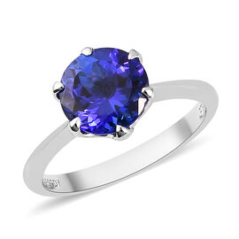 RHAPSODY 950 Platinum AAAA Tanzanite Solitaire Ring 2.00 Ct.
