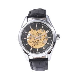 GENOA Automatic Skeleton Water Resistant Watch in Stainless Steel with Leather Strap - Black