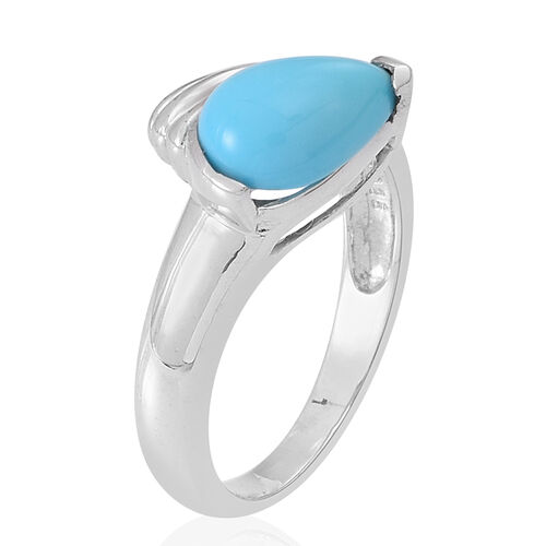 Arizona Sleeping Beauty Turquoise (Pear) Ring in Sterling Silver 1.750 Ct.
