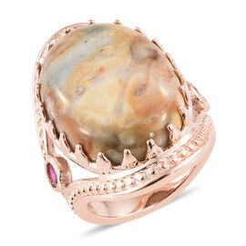 One Time Deal-Venus Jasper (Ovl), Simulated Ruby Ring in Rose Gold Plated 17.000  Ct