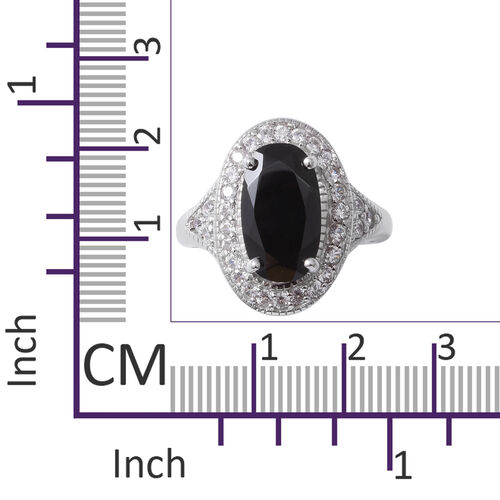 Boi Ploi Black Spinel (Ovl 4.85 Ct),Natural Cambodian White Zircon Ring in Sterling Silver 6.020 Ct, Silver wt 5.33 Gms.