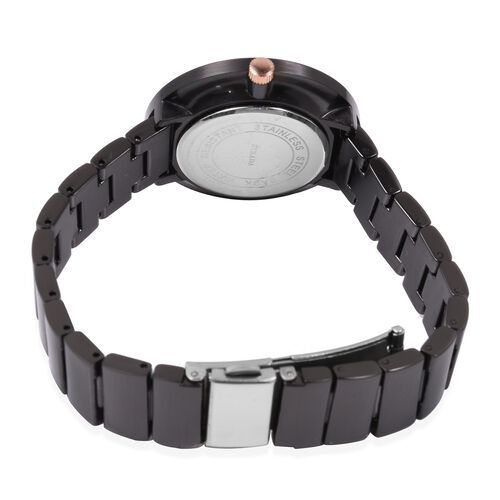 STRADA Japanese Movement Water Resistant Watch with Black Chain Strap in Stainless Steel