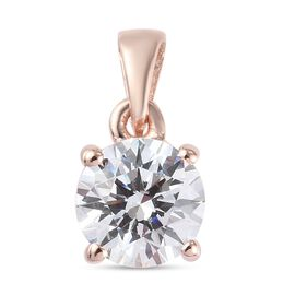 J Francis - Rose Gold Overlay Sterling Silver Pendant Made with SWAROVSKI ZIRCONIA 1.820 Ct.