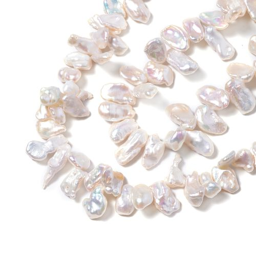 Limited Edition - 9K Yellow Gold Baroque White Pearl Necklace (Size 18 with 2 inch Extender) with Lobster Clasp
