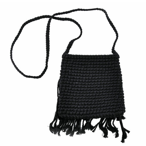 Bali Collection - Handmade Bag with Tassels, Seashell and Shoulder Strap (Size 29x20 Cm) - Black
