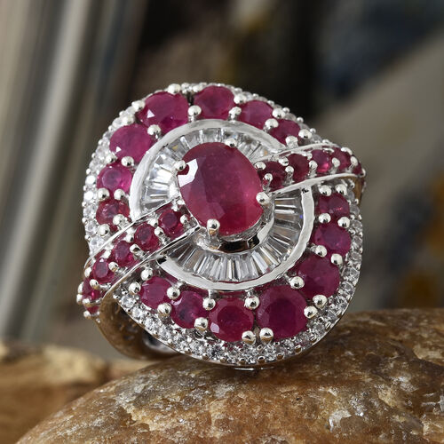 African Ruby (Ovl and Rnd 5.25 Ct), Natural White Cambodian Zircon Cluster Ring in Platinum Overlay Sterling Silver 6.750 Ct, Silver wt 9.70 Gms.