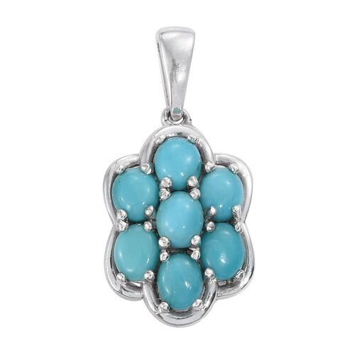 Arizona Sleeping Beauty Turquoise (Ovl) 7 Stone Floral Pendant in Platinum Overlay Sterling Silver 2.500 Ct.