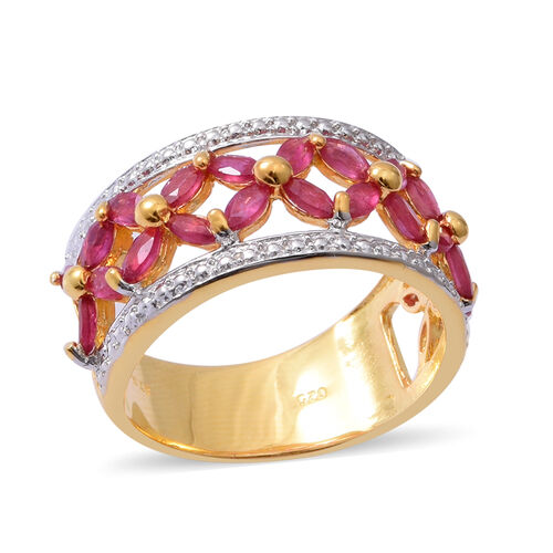 African Ruby (Mrq) Floral Ring in Yellow Gold Overlay Sterling Silver  2.520 Ct.
