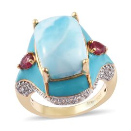 Larimar, African Ruby and Natural Cambodian Zircon Ring in 14K Gold Overlay Sterling Silver 7.88 Ct,