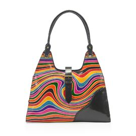 Sukriti 100% Genuine Leather Multi Colour Waves Pattern Handbag with External Zipper Pocket (Size 34