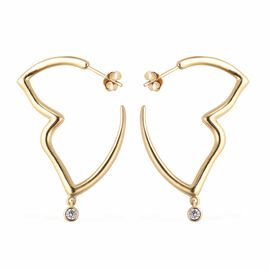Isabella Liu Simulated Diamond Butterfly Hoop Earrings in Gold Plated Silver