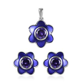 2 Piece Set - Simulated Amethyst (Rnd) Floral Enamelled Pendant and Earrings (with Push Back) in Pla