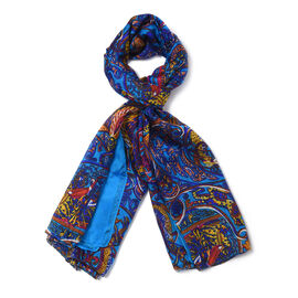 New Collection 100% Mulberry Silk Bohemian Pattern Scarf (Size 180x110Cm) - Navy