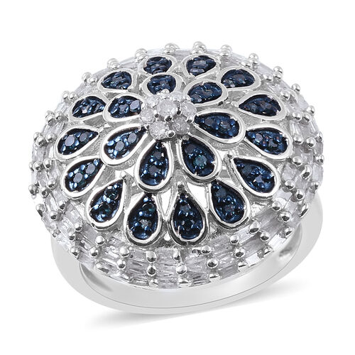 1.26 Ct Blue and White Diamond Cluster Dum Ring in Platinum Plated Silver 6.10 Grams