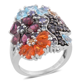 14.36 Ct Multi Gemstones Cluster Ring in Platinum Plated Sterling Silver 9.09 Grams