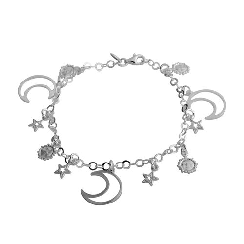 Italian Made-Sterling Silver Bracelet (Size 7.5) with Multi Charm, Silver wt 7.01 Gms
