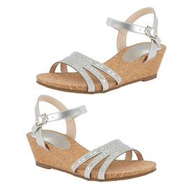 Lotus Mandy Wedge Sandals in Silver Colour