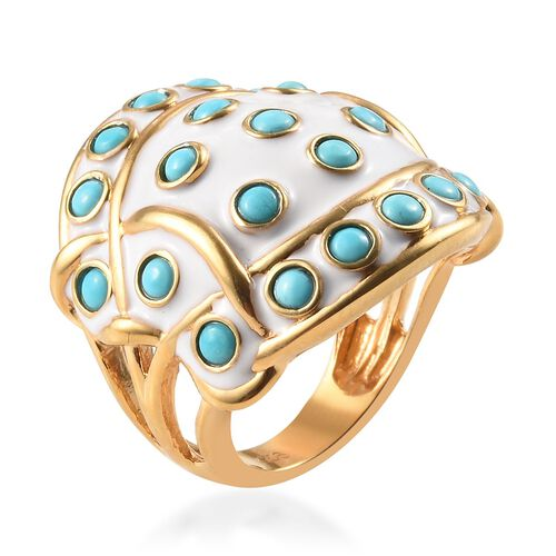 Arizona Sleeping Beauty Turquoise Enamelled Ring in 14K Gold Overlay Sterling Silver Ring 2.00 Ct, Silver wt 11.49 Gms