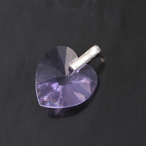 J Francis Crystal from Swarovski - Large Lavender Colour Crystal (Hrt 18mm) Pendant in Sterling Silver