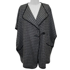 SUGAR CRISP Throw on Cape Jacket (Size M/L) - Black and White