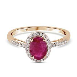 9K Yellow Gold AA Burmese Ruby and Diamond Ring 1.10 Ct.