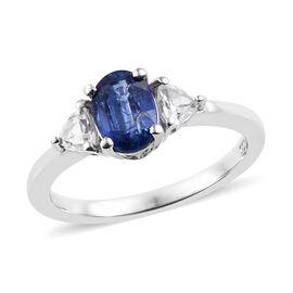 Kashmir Blue Kyanite (Ovl), Natural Cambodian Zircon Ring in Platinum Overlay Sterling Silver 1.020 Ct.