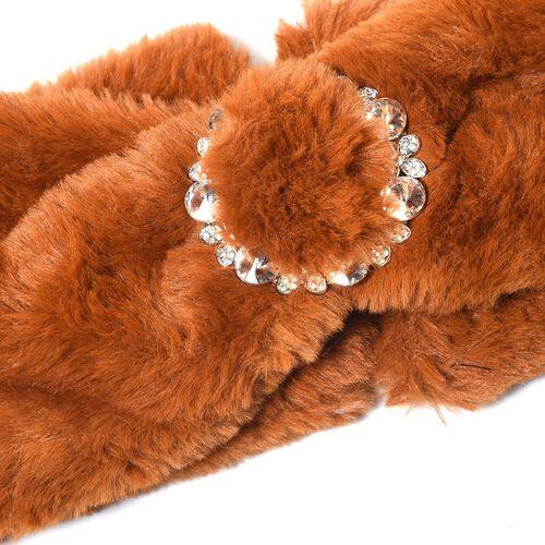 Bowknot Design Faux Fur Headband (Size 10x55 Cm) - Brown