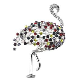 Multi Colour Austrain Crystal Crane Brooch in Silver Plated