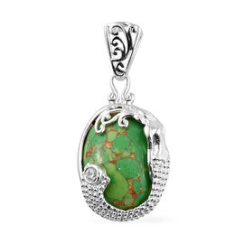 Green Mojave Turquoise (Ovl 16x12 mm), Natural Cambodian Zircon Pendant in Sterling Silver 8.750 Ct.