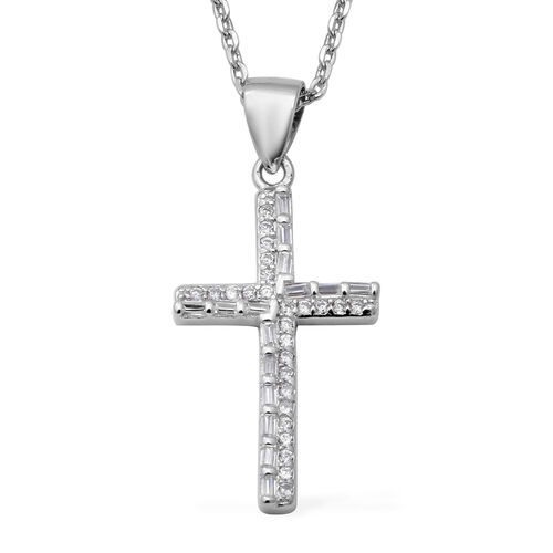 ELANZA Simulated Diamond (Rnd and Bgt) Adjustable Necklace (Size 17 with 1 inch Extender) in Rhodium