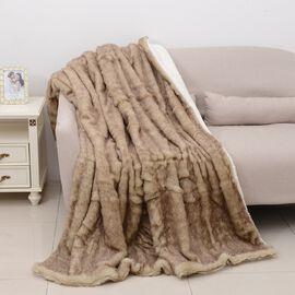 Deluxe Chinchilla Faux Fur Reversible Sherpa Blanket (Size 150x200 cm)