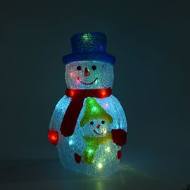 Snowman Decorative Lamp with Multicolour Light (Size 40x21 Cm) - Red, Blue, Yellow and White