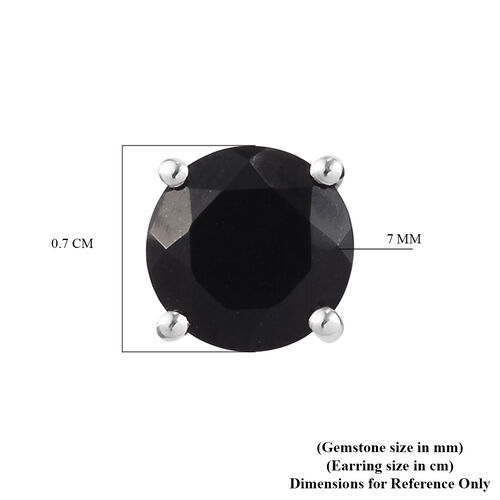 Black Tourmaline Stud Earrings (with Push Back) in Platinum Overlay Sterling Silver 2.75 Ct.