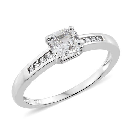 J Francis - Sterling Silver (Asscher Cut) Ring Made with SWAROVSKI ZIRCONIA