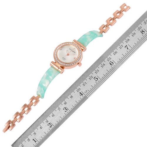 STRADA Japanese Movement White Austrian Crystal Studded White Dial Watch in Rose Gold Tone with Stainless Steel Back and Green Colour Strap