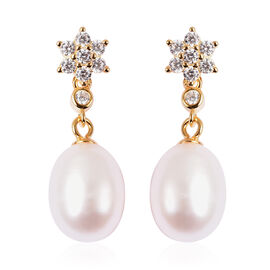 Freshwater White Pearl and Simulated Diamond Drop Earrings (with Push Back) in Yellow Gold Overlay S