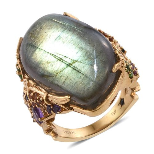 GP Labradorite, Amethyst, Rhodolite Garnet, Madeira Citrine, Russian Diopside, Boi Ploi Black Spinel and Kanchanaburi Blue Sapphire Ring in 14K Gold Overlay Sterling Silver 34.000 Ct.