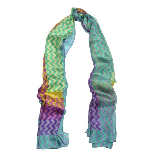 100% Mulberry Silk Lilac, Blue and Multi Colour Handscreen Zigzag Printed Scarf (Size 200X180 Cm)