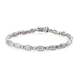 Diamond (Rnd) Tennis Bracelet (Size 7.5)  in Platinum Overlay Sterling Silver 2.250 Ct., Silver Wt.